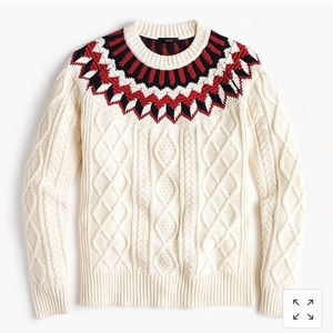 J. Crew Fair Isle Cable Knit Sweater Wool Soft
